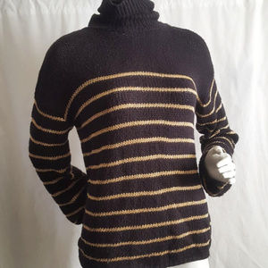 ALC Black Gold Metallic Knit Sweater Size XS